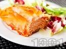 Рецепта Задушена риба сьомга в тънки кори за баница